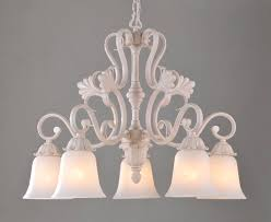 5 light white metal antique chandeliers with frost glass lamp cover