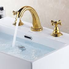 modern gold 3 hole widespread bathroom sink faucet basin tap free
