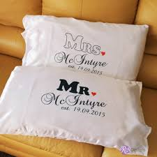 mr and mrs personalised pillow cases