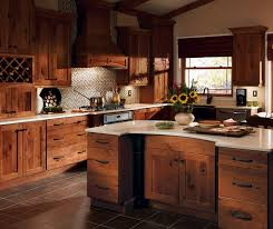 Rustic Hickory Kitchen Cabinets With Dover Doors In Terrain Finish Hickory Wood R76