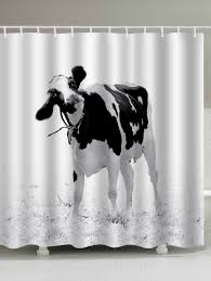 2018 Water Resistant Milk Cow Print Shower Curtain White W Inch L Cowhide Print Shower Curtain
