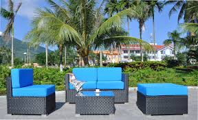 Mcombo 5pc big size outdoor furniture luxury patio thick6 cushions black wicker