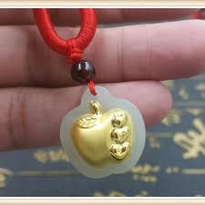 chinese hetian jade 24k yellow gold pendant apple with heart 22 20mm for