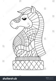 outlined doodle anti stress coloring book page chess knight for s and children