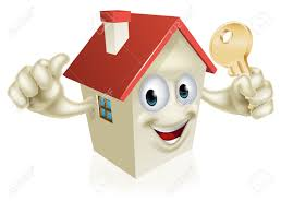 New Home Cartoon Images A Cartoon House Character Mascot Holding A Key Concept For Buying