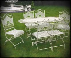 white wrought iron garden furniture. Jayden Shabby Chic White Wrought Iron Metal Garden Furniture Patio Table And Chairs Ef Set N