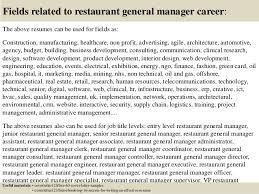 Resume Format Restaurant Manager cover letter sample for job General Manager  Resume Restaurant Manager Resume Resume