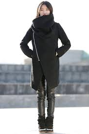 black winter coat with large cowl neck and zipper modern women las asymmetrical coat c162