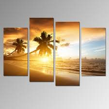 4 panels sunset scenery painting artwork office decoration landscape canvas painting sunsets wall art beach canvas no frame in painting calligraphy from