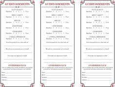 Survey Cards Templates 9 Best Comment Cards Images Boss Form Design Garden Bar