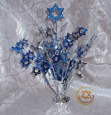 royal blue, white and silver decorations for 25 anniversary | Chanukah  Centerpiece - Blue and