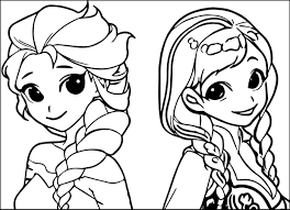 Elsa Anna Cartoon Coloring Page 01