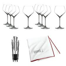 details about riedel extreme crystal oaked chardonnay wine glass set of 8 with wine pourer