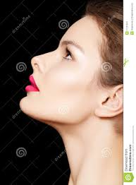 side view female model face with perfect make up