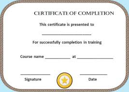 free certificate of completion template blank certificate of completion template free certificate of