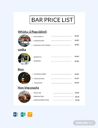 Microsoft Word Price List Free Bar Price List Template In Microsoft Word Publisher Apple