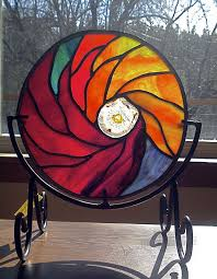 Stained Glass Display Stands Impressive Stained Glass Mandala With Geode On Display Stand By Jannie Ledard