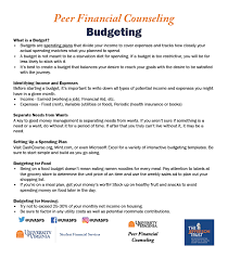 Monthly Income And Expenses Budgeting Student Financial Services Uva