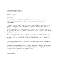 Board Member Resignation Letter Sample 0 From Of Directors