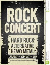 Concert Poster Design Vector Illustration Rock Concert Retro Poster Design