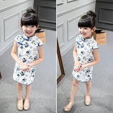 image trendy baby. Cotton Girl Dress Trendy Kids Baby Girls Qipao Short Sleeve Chinese Cheongsam Spring Autumn Clothes Image