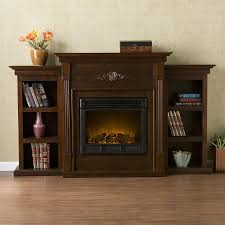 boston loft furnishings 70 in w espresso wood electric fireplace with thermostat and remote control