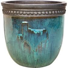 turquoise ceramic texas garden planter