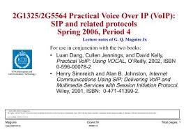 2g1325 2g5564 Practical Voice Over Ip Voip Sip And Kth