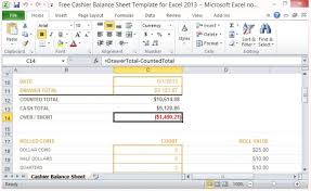 Balance Cash Drawer Free Cashier Balance Sheet Template For Excel 2013