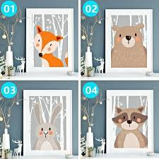 <b>Cartoon</b> Rabbit Fox <b>Bear Posters</b> and <b>Prints</b> Wall <b>Art</b> Canvas Painting