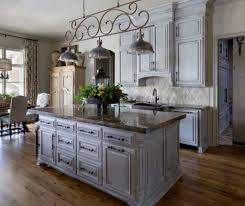 black granite countertop and wooden laminate floor using best antique grey cabinet for impressive kitchen ideas