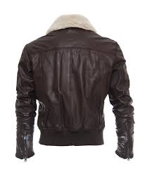 men s brown sheep leather jacket with fur collar