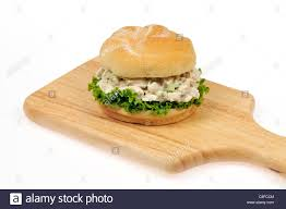 chicken salad sandwich on roll. Exellent Roll Chicken Salad Sandwich With Lettuce In Bread Roll On Wood Cutting Board  White Background  To Salad Sandwich On Roll