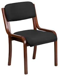 flash furniture luxcontemporary wood side chair black fabric and walnut frame office chairs