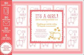 Print Baby Announcement Cards Its A Girl Birth Announcement Kit Chronicle Books
