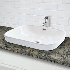 decolav 1496 cwh rectangular semi recessed vitreous china bathroom sink