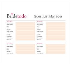 Printable Wedding Guest List Organizer Wedding Guest List Template 10 Free Sample Example