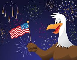 Bald Eagle With American Flag And Fireworks Poster By Michele Paccione
