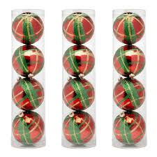 Plaid Christmas Tree 4 Pack Glittered Plaid Christmas Ornaments Set Of 3 Christmas