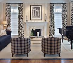 Living Room Blinds And Curtains Black Gingham Armchairs And White Interior Color For Traditional
