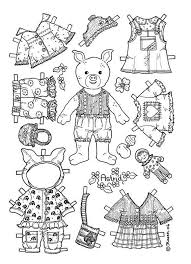Girl Pig Paper Doll Coloring Page Coloring Pages Paper Dolls
