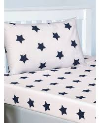 navy blue and white stars single fitted sheet and pillowcase set