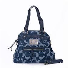 Coach Legacy In Signature Jacquard Medium Blue Shoulder Bags EWU