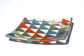 geometric glass fused glass dish with bright triangle pattern 25 00 via