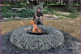 diy circular fire pit with composite bricks