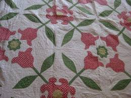 43 best Handmade Quilts images on Pinterest | Cottages, Digital ... & Vintage Handmade Cotton Red Applique Tulips On White Cotton Quilt Primitive Adamdwight.com