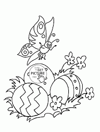 Butterfly And Easter Eggs Coloring Page