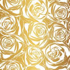 Rose Pattern Classy Elegant White Rose Pattern On Gold Background Vector Illustration