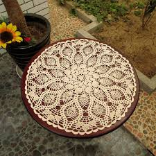 vintage hand crochet lace doily round table topper cloth pineapple pattern 23