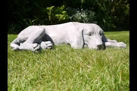 laying dog garden statue made from